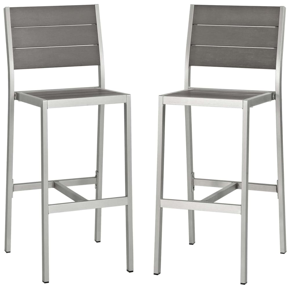 SHORE ARMLESS BAR STOOL OUTDOOR PATIO ALUMINUM SET OF 2