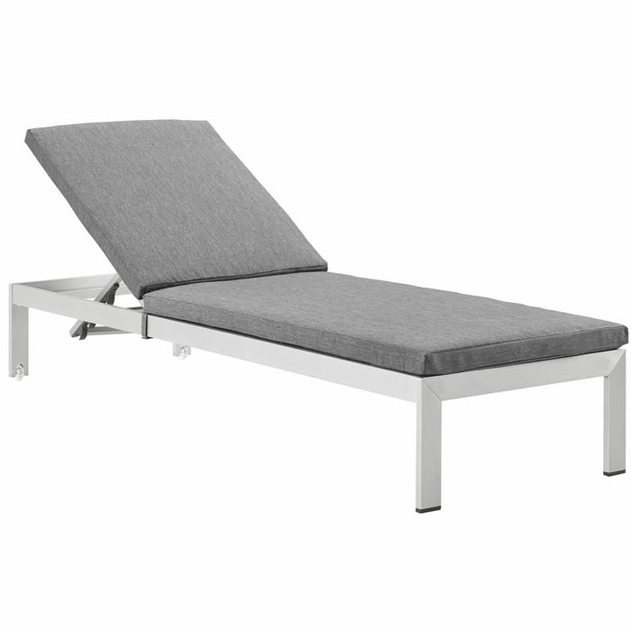 SHORE OUTDOOR PATIO ALUMINUM CHAISE WITH CUSHIONS