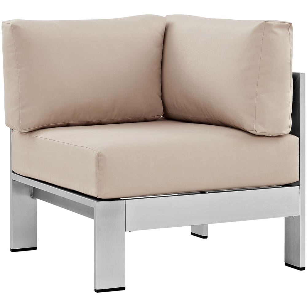 SHORE OUTDOOR PATIO ALUMINUM CORNER SOFA