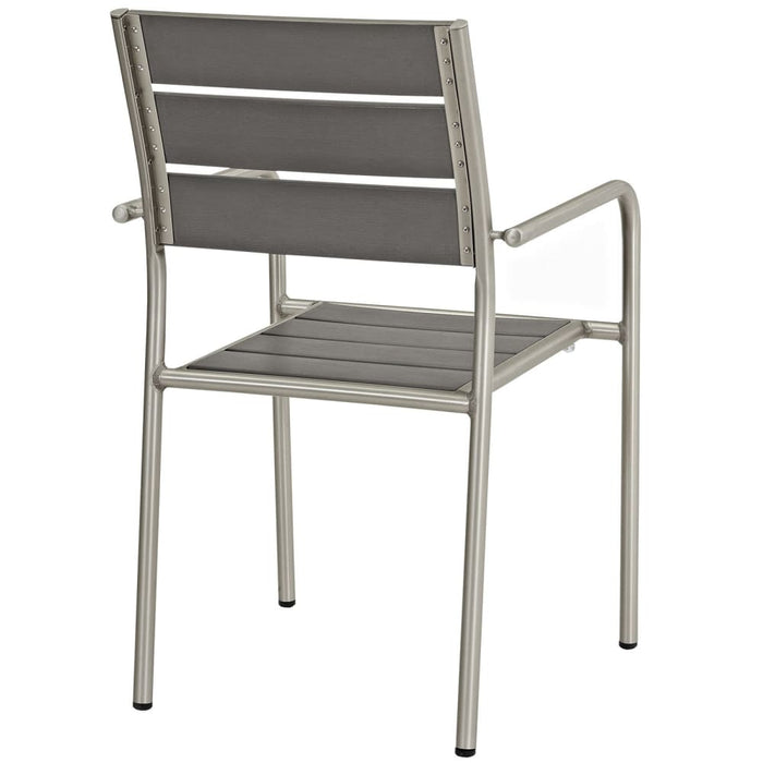 SHORE OUTDOOR PATIO ALUMINUM DINING ROUNDED ARM CHAIR