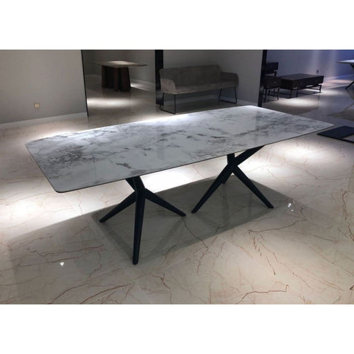 Stanton White Ceramic Marble and Smoked Ash Dining Table
