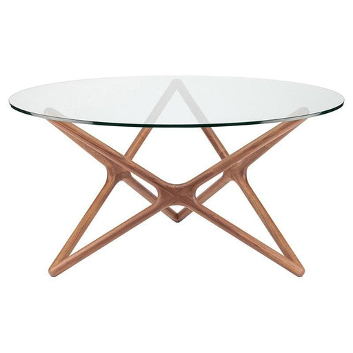 Star 59 Inch Round Dining Table Walnut