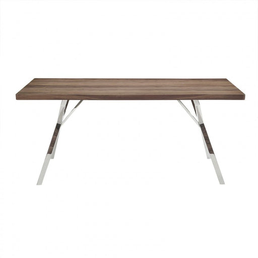 Startak Walnut Dining Table Stainless Steel Legs