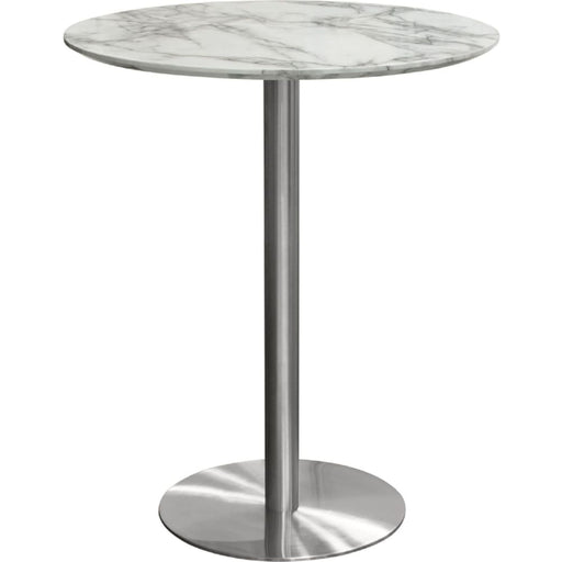 Stella 36 Round Bar Height Table Brushed Silver