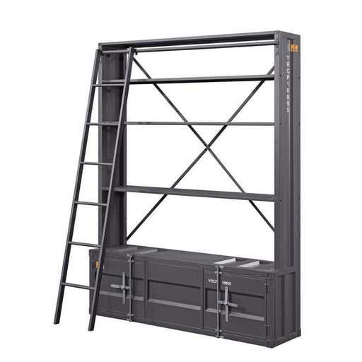 Surplus Industrial Metal Base Bookshelf with Ladder Grey