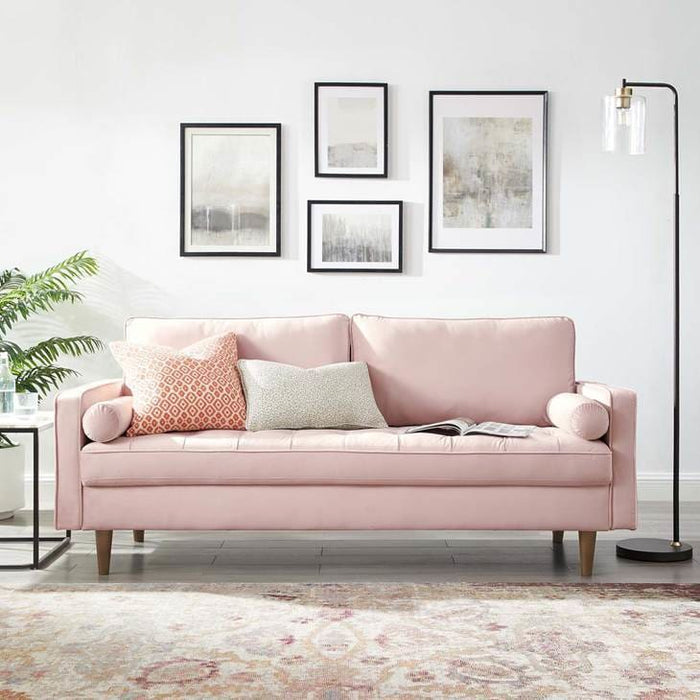 Thoreau Performance Velvet Sofa Pink