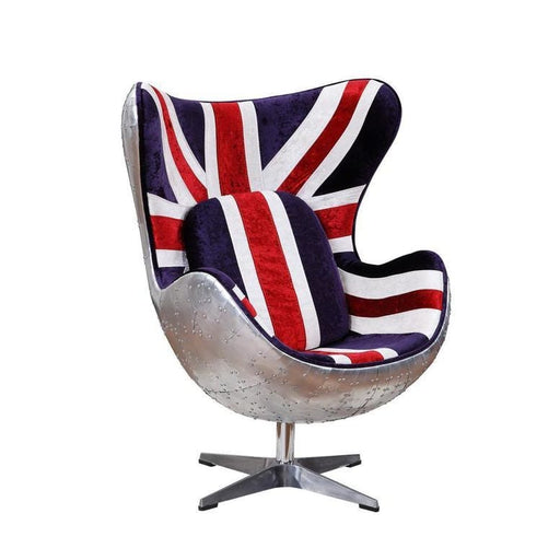 Union Jack Swivel Egg Chair With Aluminum Patchwork