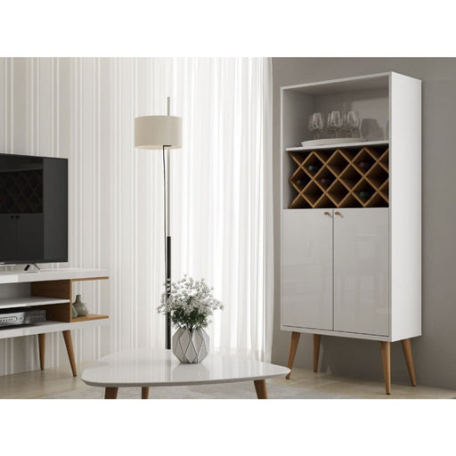 Utica Wine Rack Cabinet Gloss White Maple Cream