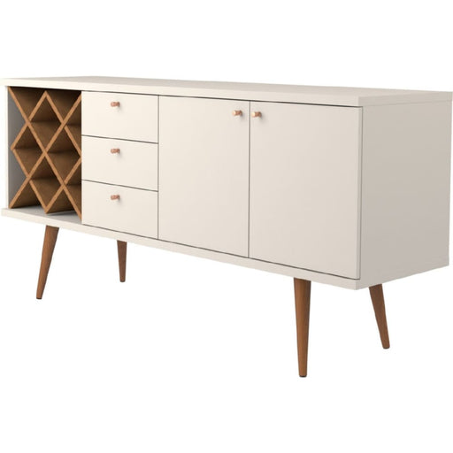 Utica Wine Rack Sideboard Buffet Off White Maple Cream