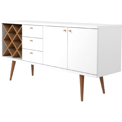 Utica Wine Rack Sideboard Buffet White Gloss Maple Cream
