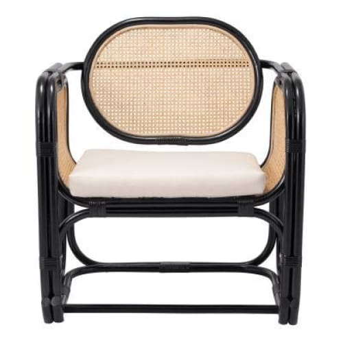 Vanessa Rattan Accent Chair Black and Natural