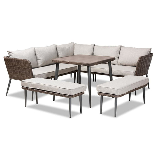 Vaughn 5 Pc Outdoor Rattan Set Light Grey