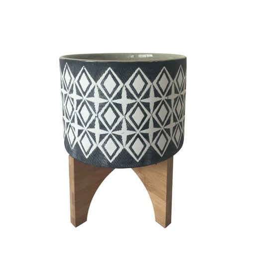 Vista Ceramic Planter With Stand, Large