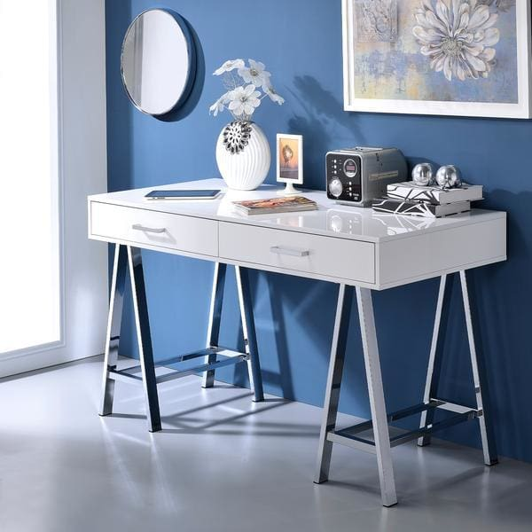 Vivian Two Drawers Desk With Saw Horse Metal Legs