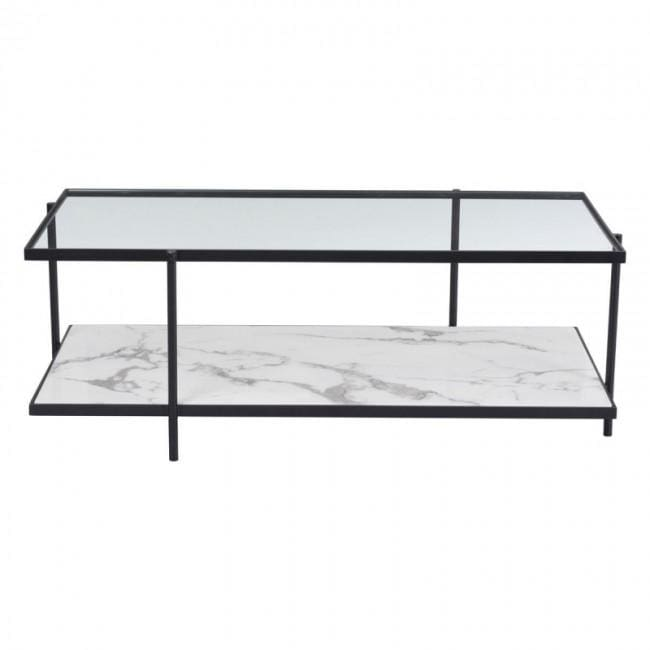 Winslett Coffee Table Clear and White Matt Black