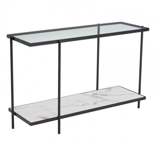 Winslett Console Table Clear and White Matt Black