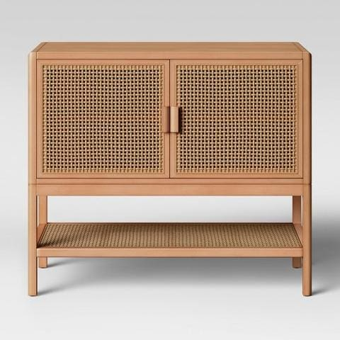 Console Table with Two Cane Doors - DesigndistrictModern.com