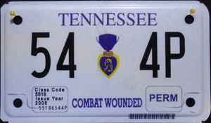 TENNESSEE COMBAT WOUNDED PURPLE HEART VETERAN 54 4P
