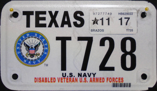 TEXAS DISABLED VETERAN U.S. ARMED FORCES NAVY 2017 T728