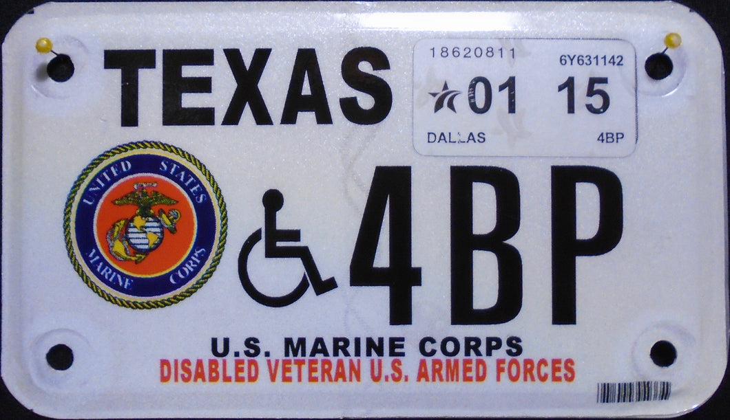TEXAS DISABLED VETERAN U.S. ARMED FORCES MARINE CORPS 2015 4BP