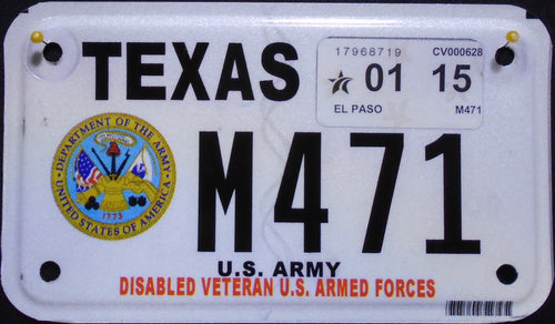 TEXAS DISABLED VETERAN U.S. ARMED FORCES ARMY 2015 M471