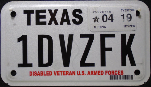 TEXAS DISABLED VETERAN U.S. ARMED FORCES 2019 1DVZFK