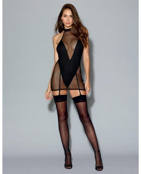 Two Layer Garment, Fishnet Halter Chemise Teddy Black Lg