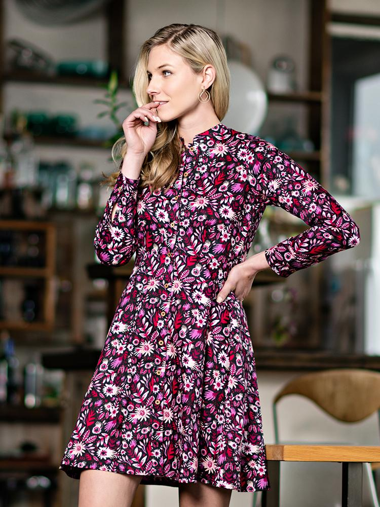 Mandarin Shirtdress | Fuschia