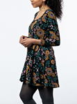 Knit Flounce Dress | Black Floral