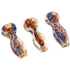 "4"" Gold Fumed Ribbon Art Color Changing Flat Mouth Pipe - Tokers Hub"