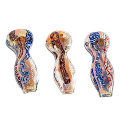 "4"" Gold Fumed Ribbon Art Color Changing Flat Mouth Pipe"