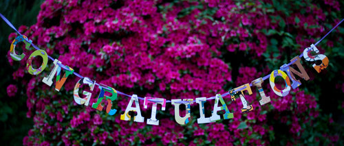 Teacher Gift Wall Art Classroom Garland- Congratulations Upcycled