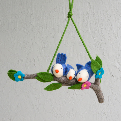 Nursery Mobile Blue Birds Wall Art Classroom Teacher Gift