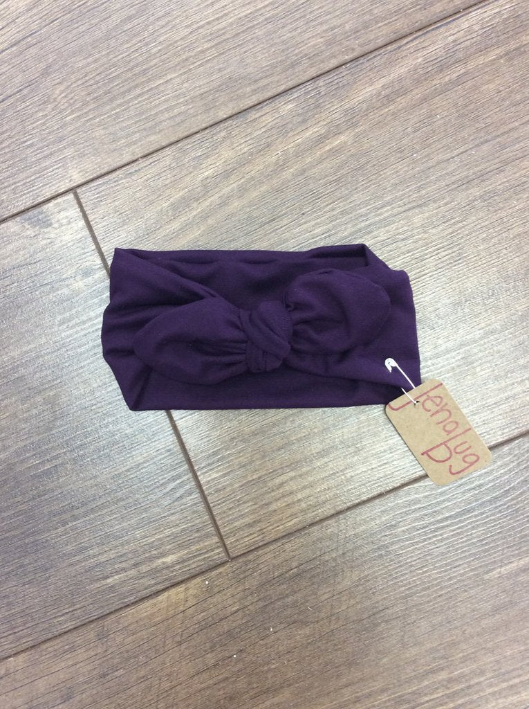 Jena Bug Baby Boutique - Eggplant Knot Bow Headband
