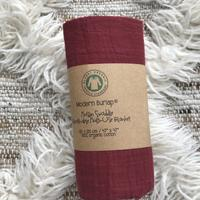 Load image into Gallery viewer, Modern Burlap - Organic Cotton Muslin Swaddle - Maroon