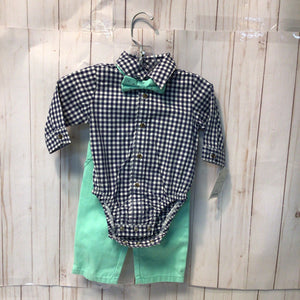 Carter's 3pc Outfit Button Down, Pants and Bow tie 3m