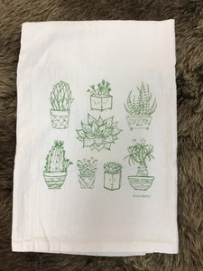 Succulents Hand Printed Flour Sack Tea Towel