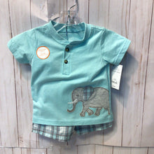 Load image into Gallery viewer, Carters 2pc Elephant Top and Matching Shorts, Baby Boy, 9 Months