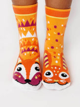 Load image into Gallery viewer, Fox & Bunny Pals Artist Series Kids Mismatched Animal Socks