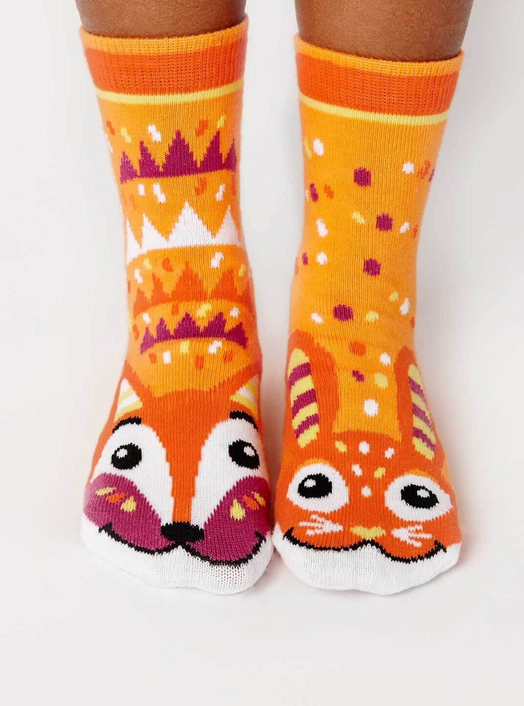 Fox & Bunny Pals Artist Series Kids Mismatched Animal Socks