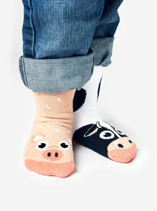 Cow & Pig Kids Collectible Mismatched Barnyard Animals Socks