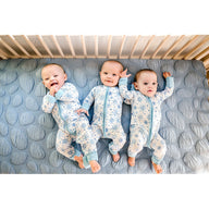 triplets on sustainable cotton breathable crib mattress for baby and toddler blue