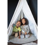 Brother and sister in Teepee on grey LilyPad play mat - best play mat for baby and toddler