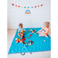 Brothers playing on Teal Nook Lilypad2 Best Baby and Toddler Play mat