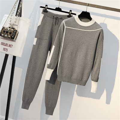 Knitted Pullovers Sweater for Women 2 Pieces Set   Long Sleeve Jumper