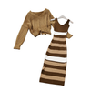 Knitted V Collar Sweater for Women 2 Pieces Set  Long Sleeve V Neck Sweater + Sleeveless Knit Dress