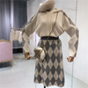 Sweaters for Women  Set 2pcs Top + Mid-calf Skirt  Style Long Sleeves Hooded