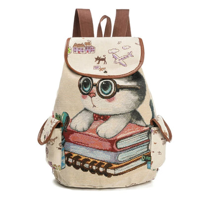 Canvas Backpacks for Women  Cat Printing Style