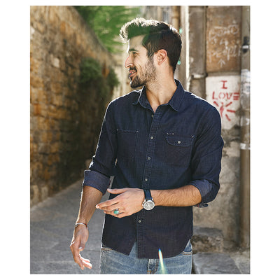 Denim Shirt Men Casual  Slim Fit