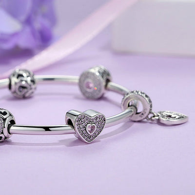 Charm Bracelet Bangle Heart 925 Sterling Silver